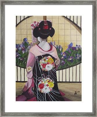 Geisha With Iris Framed Print by Kim Selig