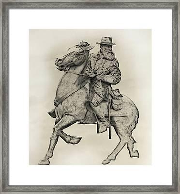 General James Longstreet Statue At Gettysburg  Framed Print by Randy Steele