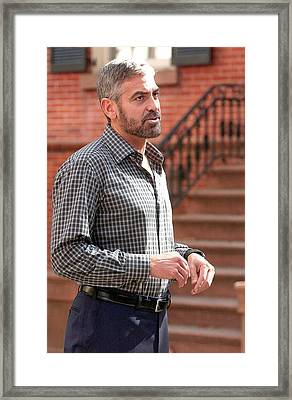 George Clooney On Location For Candids Framed Print by Everett