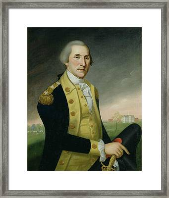 George Washington At Princeton Framed Print by Charles P Polk