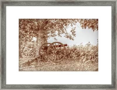 Gettysburg Battlefield Cannon Seminary Ridge Sepia Framed Print by Randy Steele