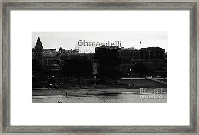 Ghirardelli Square In Black And White Framed Print by Linda Woods