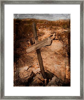 Ghost Town Cross Framed Print by Sonja Quintero