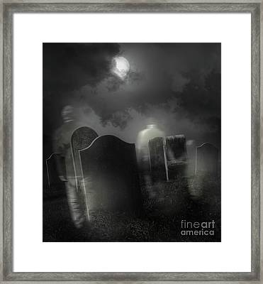 Ghosts Wandering In Old Cemetery  Framed Print by Sandra Cunningham