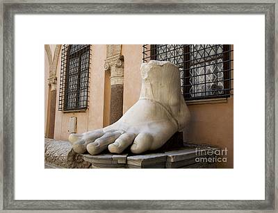 Giant Foot From Emperor Constantine Statue. Capitoline Museum. R Framed Print by Bernard Jaubert