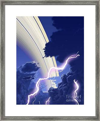 Gigantic Storms Rage In Saturns Cloudy Framed Print by Ron Miller