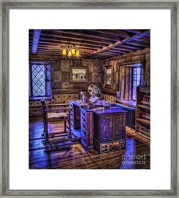 Gillette Castle Office Hdr Framed Print by Susan Candelario