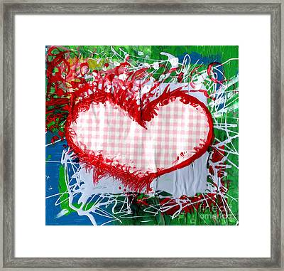 Gingham Crazy Heart Framed Print by Genevieve Esson