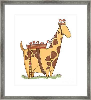 Giraffe Cab Framed Print by Johann Schweder Grimstvedt