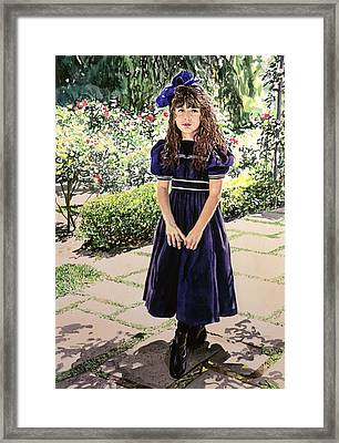 Girl At The Huntington Framed Print by David Lloyd Glover