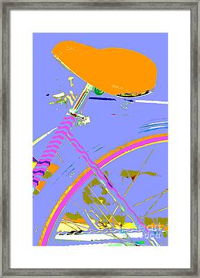 Girl Bicycle Pop Art Framed Print by ArtyZen Studios