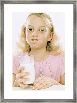 Girl Drinking Milk Framed Print by Kevin Curtis