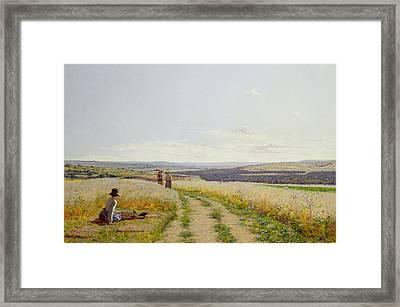Girl In The Fields   Framed Print by Jean F Monchablon