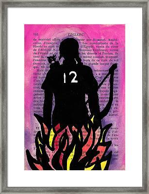 Girl On Fire Framed Print by Jera Sky