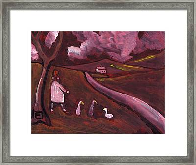 Girl Walking With Geese Framed Print by Peter  McPartlin