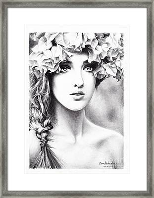 Girl With A Floral Crown Framed Print by Muna Abdurrahman