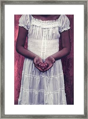 Girl With A Heart Framed Print by Joana Kruse