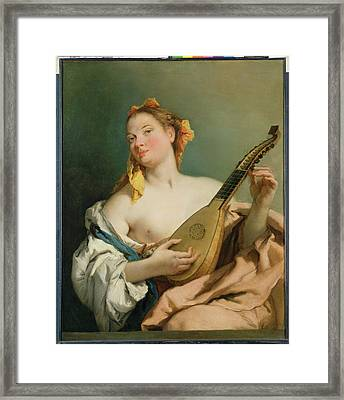 Girl With A Mandolin Framed Print by Giovanni Battista Tiepolo