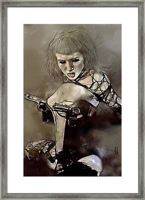 Girl With Guns Framed Print by Marco Turini
