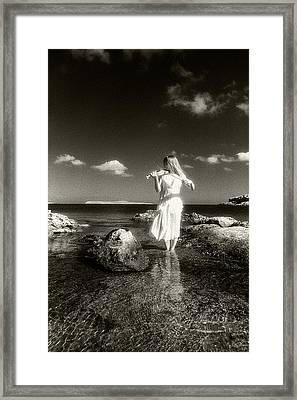 Girl With The Violin Framed Print by Manolis Tsantakis