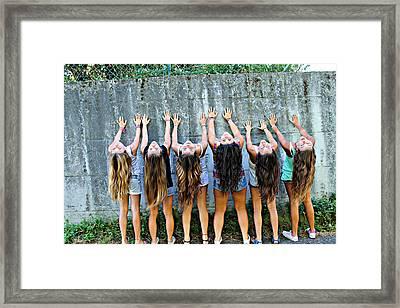 Girls And Long Hair Framed Print by Jenny Senra Pampin