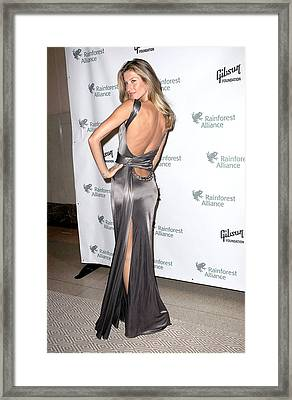 Gisele Bundchen  Wearing A Versace Framed Print by Everett