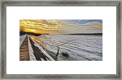 Glaciation Of The Danube. Framed Print by Evmeniya Stankova