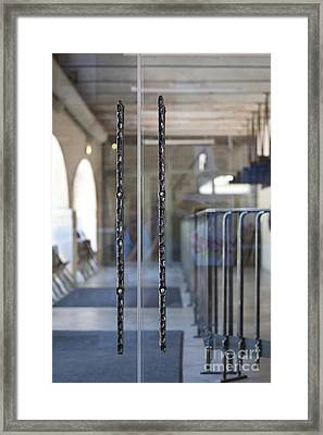 Glass Doors To A Traditional Music Center Framed Print by Jaak Nilson