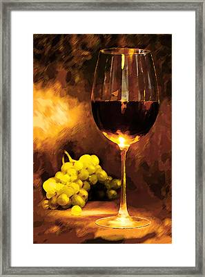 Glass Of Wine And Green Grapes By Candlelight Framed Print by Elaine Plesser