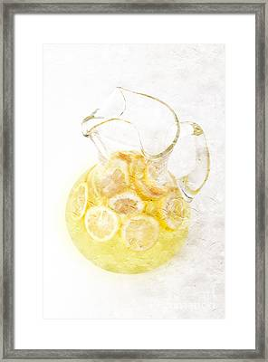 Glass Pitcher Of Lemonade Framed Print by Andee Design