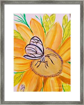 Glass Winged Butterfly Framed Print by Marie Bulger