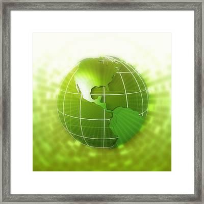 Globe Focus On Americas, Digital Framed Print by Chad Baker