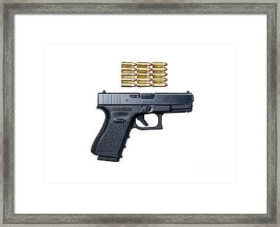 Glock Model 19 Handgun With 9mm Framed Print by Terry Moore