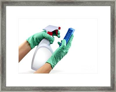 Gloved Hands With Sponge And Cleaning Spray Framed Print by Blink Images