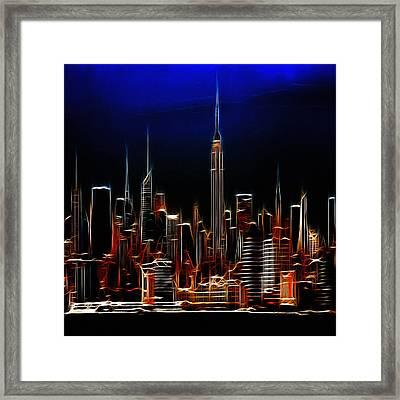 Glowing New York Framed Print by Steve K