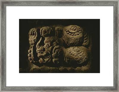 Glyph Representing The Mayan Rulers Framed Print by Kenneth Garrett