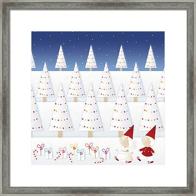 Gnomes - December Framed Print by ©cupofsnowflakes
