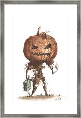Goblin Tree Trick Or Treat Framed Print by Sean Seal