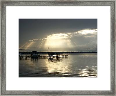 God Left The Light On For You Framed Print by Tiffney Heaning