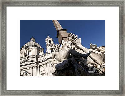 God Of The River Ganges. Fontana Dei Quattro Fiumi. Piazza Navona. Rome Framed Print by Bernard Jaubert