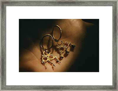 Gold Earrings Hung With Pearls Are Part Framed Print by Ira Block