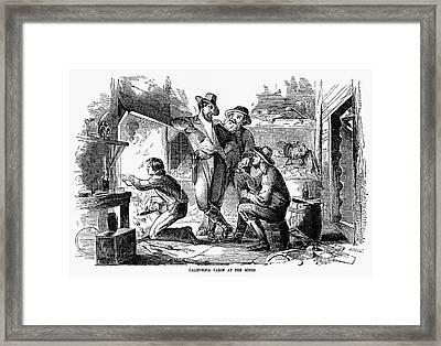 Gold Rush: Cabin, 1856 Framed Print by Granger