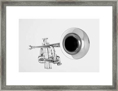 Gold Trumpet Isolated On White Framed Print by M K  Miller