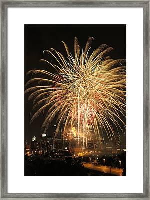 Golden Fireworks Over Minneapolis Framed Print by Heidi Hermes