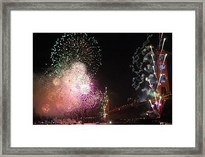 Golden Gate Bridge 75th Anniversary Fireworks Framed Print by Michael Meinberg