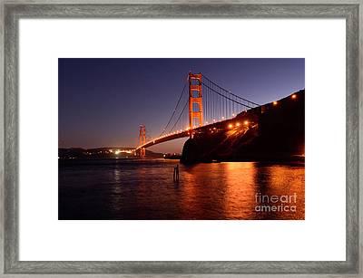 Golden Gate Bridge At Night 2 Framed Print by Bob Christopher