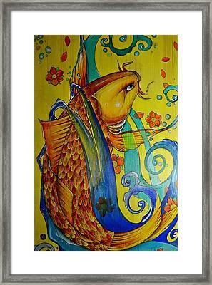 Golden Koi Framed Print by Sandro Ramani