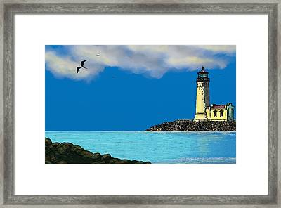 Golden Lighthouse Framed Print by Tony Rodriguez