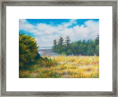 Golden Meadow In The Sun Framed Print by Anna Abramska