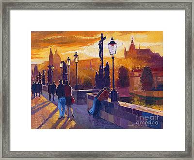 Golden Prague Charles Bridge Sunset Framed Print by Yuriy  Shevchuk
